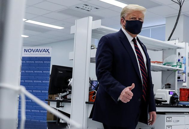 U.S. President Donald Trump tours a pharmaceutical manufacturing plant in North Carolina, where components...