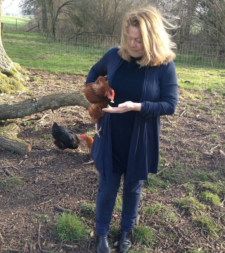 Anne with her pet chicken