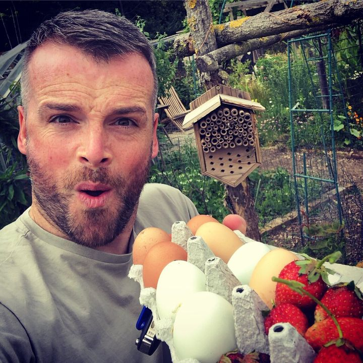 Dr Sean with the eggs laid by his birds