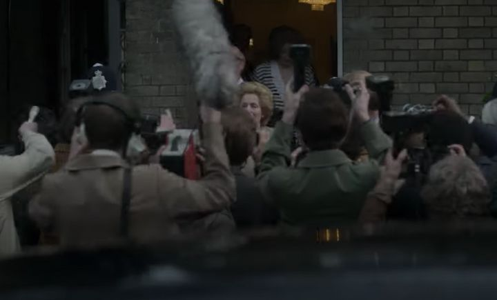 Gillian Anderson in character as Maragret Thatcher
