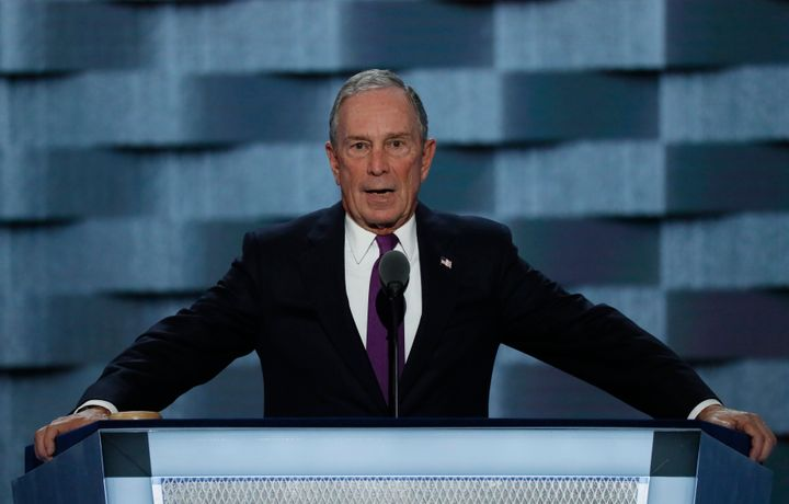 Former New York City Mayor Michael Bloomberg speaks on the third day of the Democratic National Convention in Philadelphia on