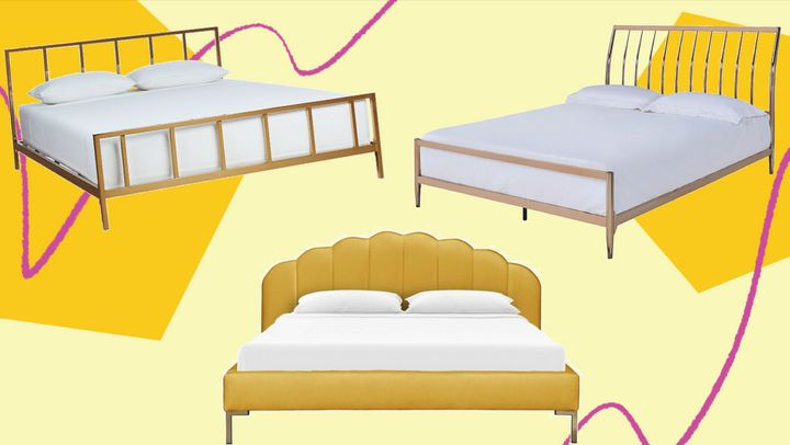 One of our favorite home trends? Gold bed frames and gold headboards.
