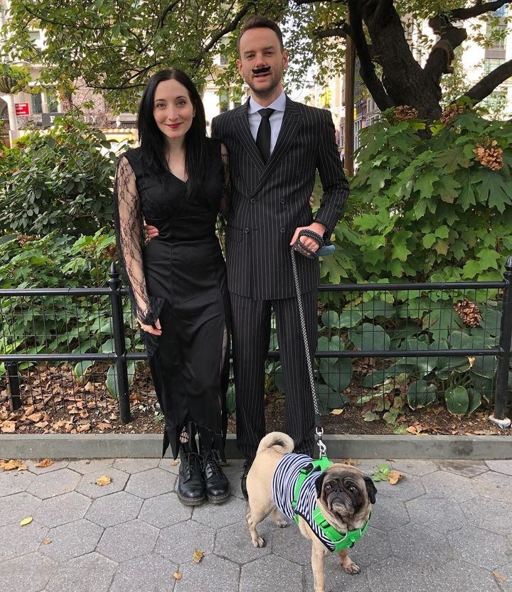 The author and her fiancé, Jerrod, dressed as Morticia and Gomez Addams, in Madison Square Park, New York City, on Halloween 2019.