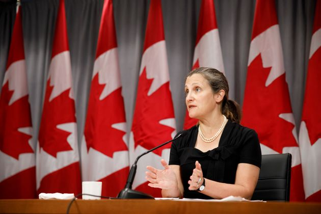Deputy prime minister Chrystia Freeland speaks during a press conference in Toronto on Aug. 7,