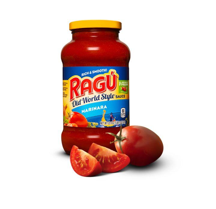"A jar of Ragu's ""old world style"" marinara sauce."