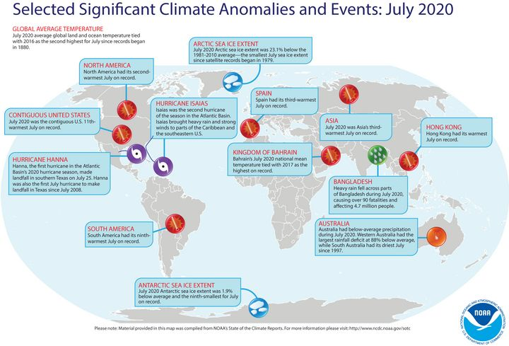 This map from the National Oceanic Atmospheric Administration identifies some of the most significant weather and climate eve