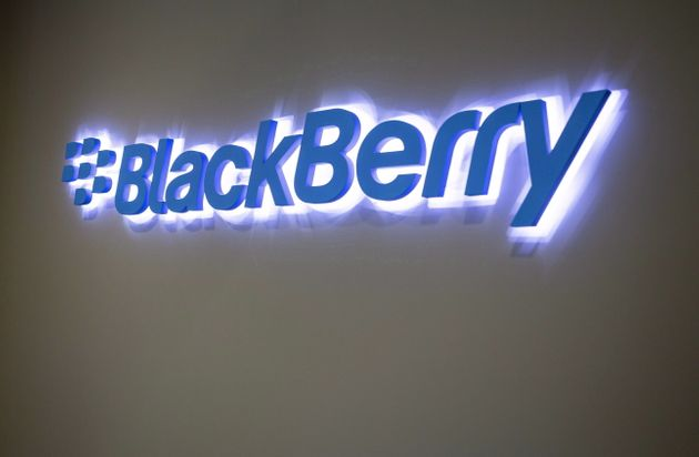 The Blackberry logo located in the lobby of the company's B building in Waterloo, Ont. on May 29,