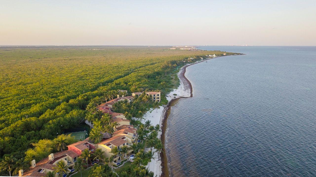 Aerial view of the Puerto Morelos coast.