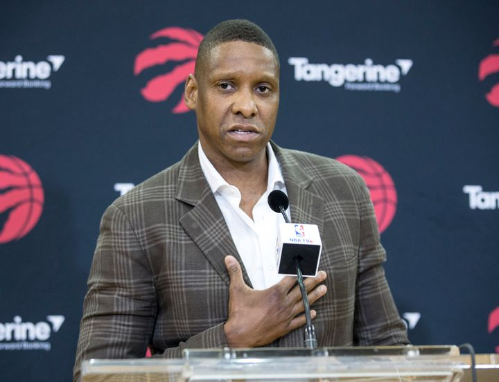 Toronto Raptors President Masai Ujiri talks to the media during a press conference in Toronto on July 20, 2018.