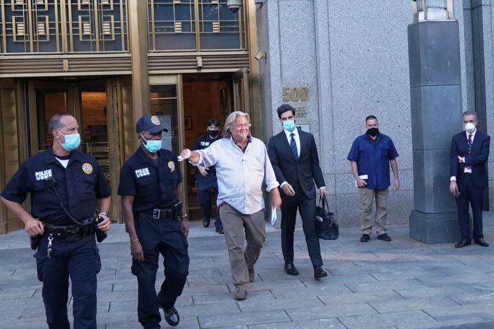 President Donald Trump's former chief strategist, Steve Bannon, exits the Manhattan Federal Court following his arraignment T