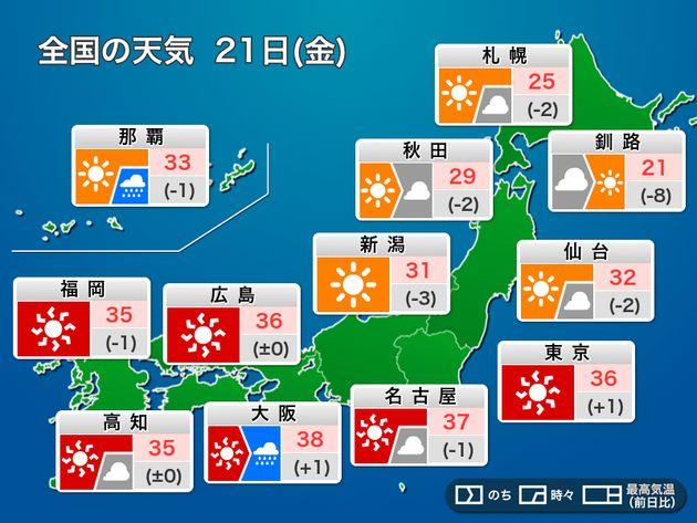 今日の天気 21日(金)