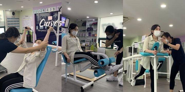 다양한 상하체 운동을 체험하는 장면. 커브스 김소영 대리가 찍어줬다.