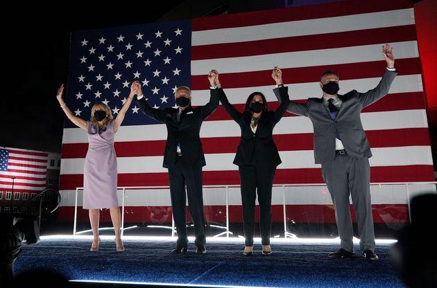 Jill Biden, presidential nominee Joe Biden, vice presidential nominee Kamala Harris and her husband,...