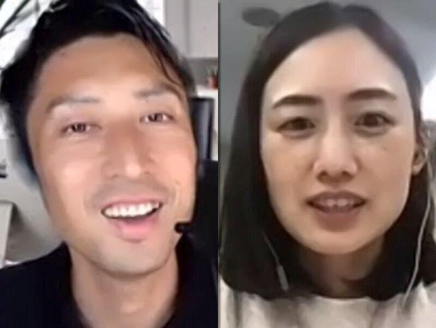オンライン取材に応じる貝印の畑谷友香さん(右)と齊藤淳一さん
