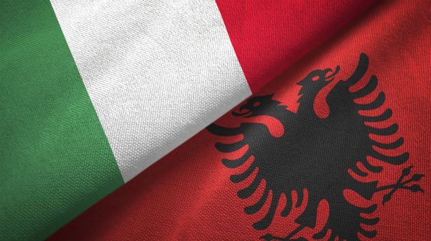 Albania and Italy flag together realtions textile cloth fabric