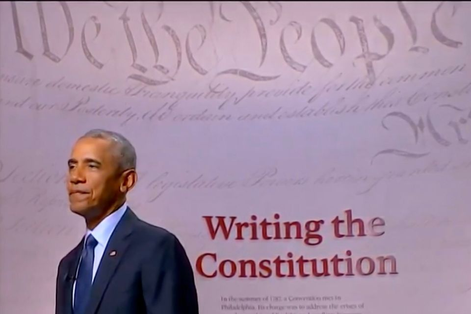 Former President Barack Obama spoke from the Museum of the Constitution in Philadelphia during the 2020...