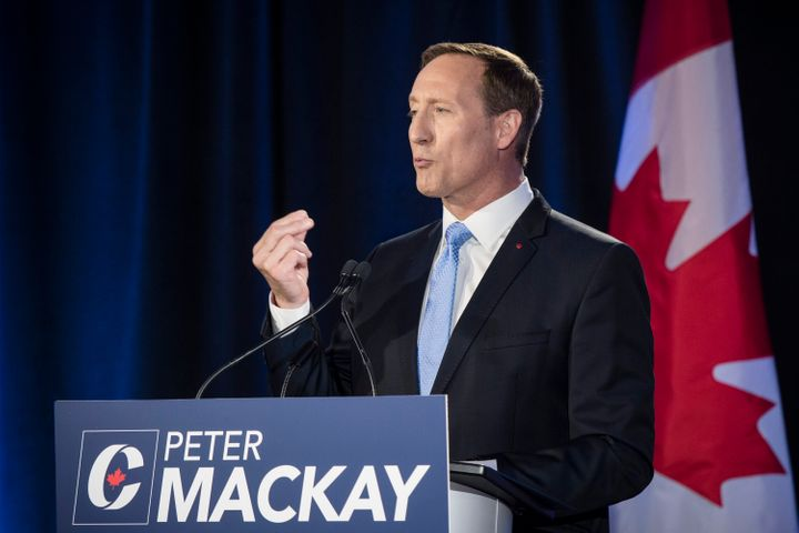 Conservative Party of Canada leadership candidate Peter MacKay speaks during the English debate in Toronto on June 18, 2020.