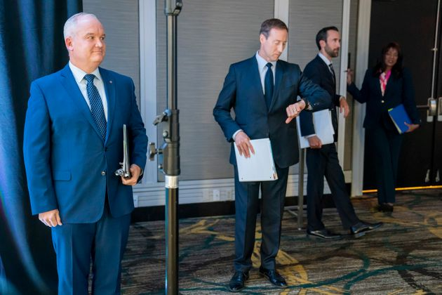 Conservative Party of Canada leadership candidates Erin O'Toole, left to right, Peter MacKay, Derek Sloan...