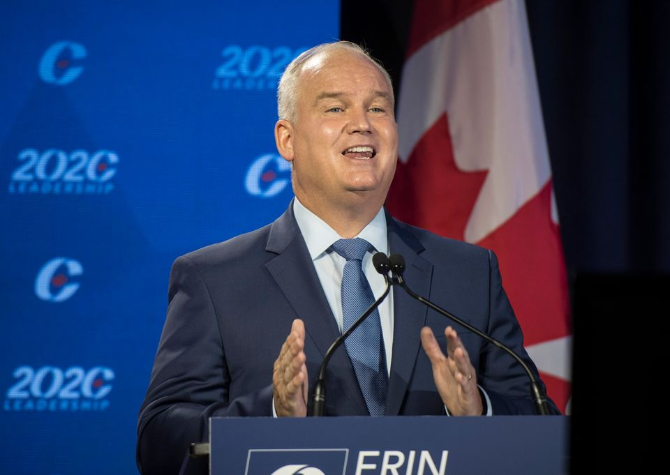 Conservative Party of Canada leadership candidate Erin O'Toole speaks during the English debate in Toronto...