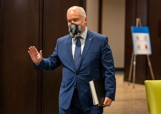 Conservative Party of Canada leadership candidate Erin O'Toole arrives for the start of the French debate...