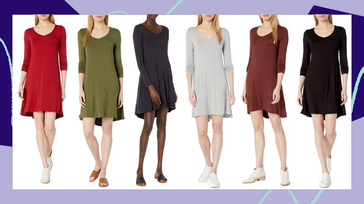 "Use code&nbsp;HUFFPOST20&nbsp;to get 20% off this <a href=""https://amzn.to/3l5xYSv"" target=""_blank"" rel=""noopener noreferrer"">Daily Ritual women's jersey long-sleeved V-neck dress</a> and get it for $19."