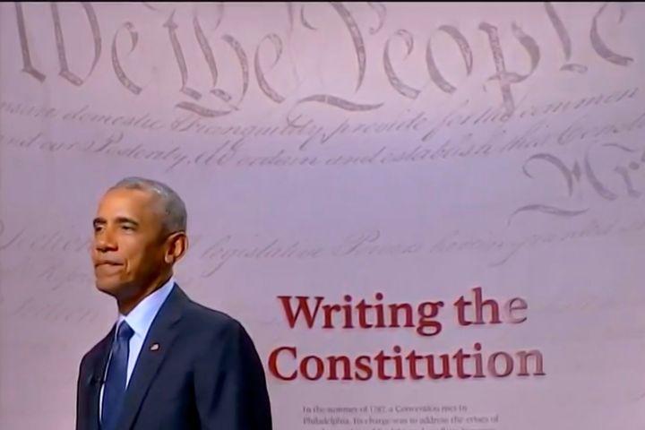 Former President Barack Obama addresses the virtual Democratic National Convention on Aug. 19, 2020, from Philadelphia.