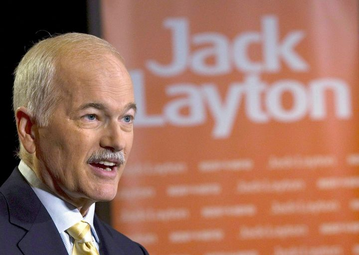 Jack Layton speaks to the media in Toronto on May 3, 2011.