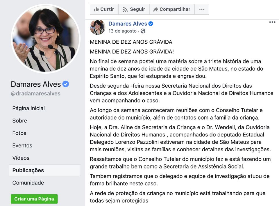 """Damares publica que funcionários do MMFDH """"estiveram na cidade de São Mateus para..."""