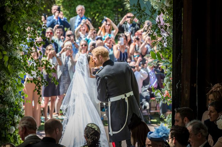 Prince Harry and Meghan Markle on their wedding day, May 19, 2018.