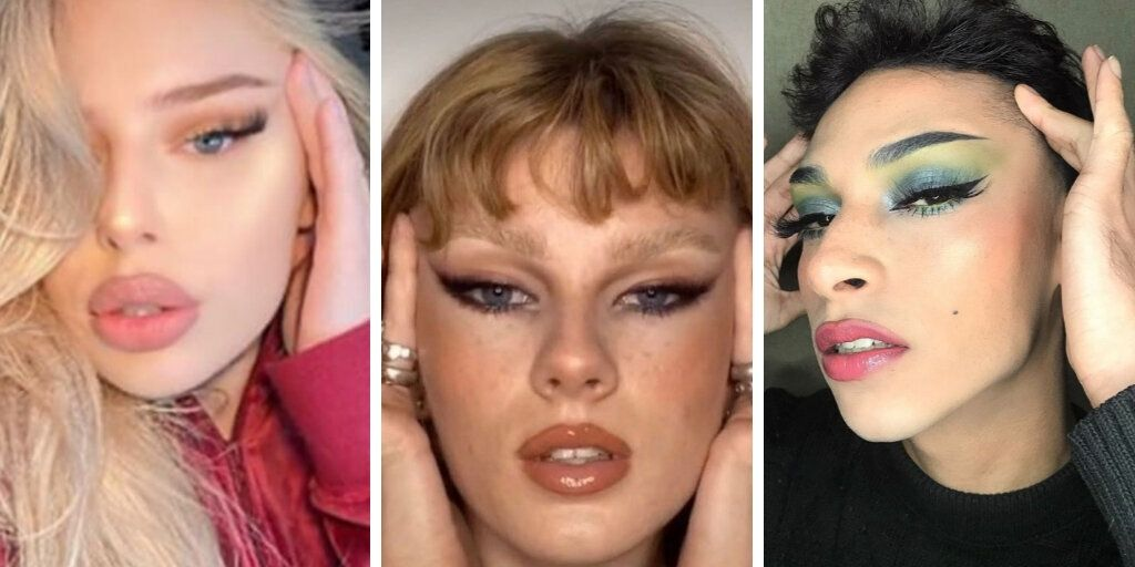 """A few examples of the """"fox eye"""" trend found when searching the hashtag on Instagram and TikTok."""
