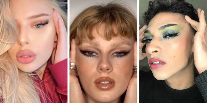 "A few examples of the ""fox eye"" trend found when searching the hashtag on Instagram and TikTok."