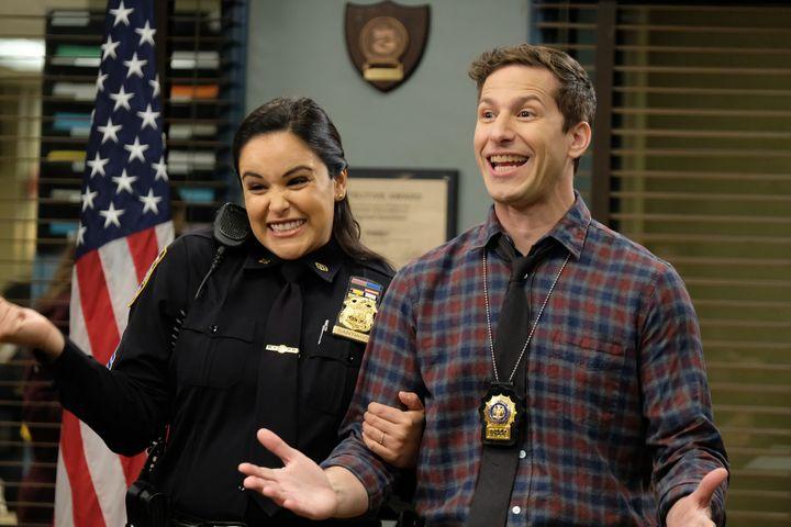 "Melissa Fumero as Amy Santiago, Andy Samberg as Jake Peralta in season 7, episode 10 of ""Brooklyn Nine-Nine."""