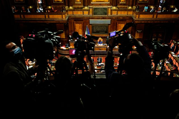 A general view from the press tribune during the Italian Prime Minister Giuseppe Conte's information...