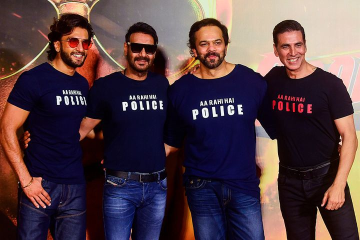 Bollywood actors Ranveer Singh (L), Ajay Devgn (2L) and Akshay Kumar (R) pose for a picture with direcotr Rohit Shetty during the trailer launch of their upcoming action Hindi film 'Sooryavanshi', in Mumbai on March 2, 2020. (