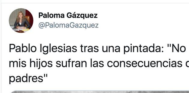 Tuit de Paloma Gázquez, diputada del PP, usando una foto de ETA para criticar a Pablo