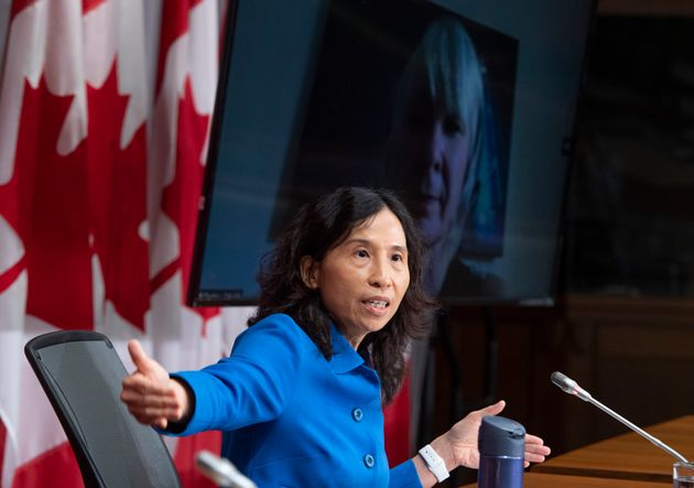 Dr. Theresa Tam speaks during a news conference on the COVID-19 pandemic on Parliament Hill on