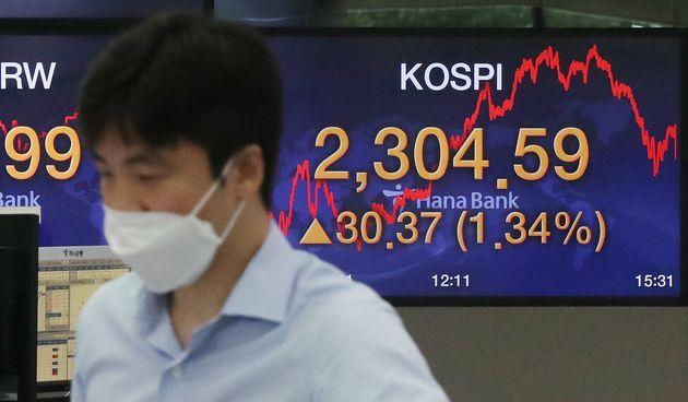 21일 서울 중구 명동 하나은행 딜링룸 전광판에 코스피 지수가 전일 대비 30.37포인트(1.34%) 상승한 2,304.59를 나타내고 있다. 이날 코스피는 미국 증시 호조에 힘입어...