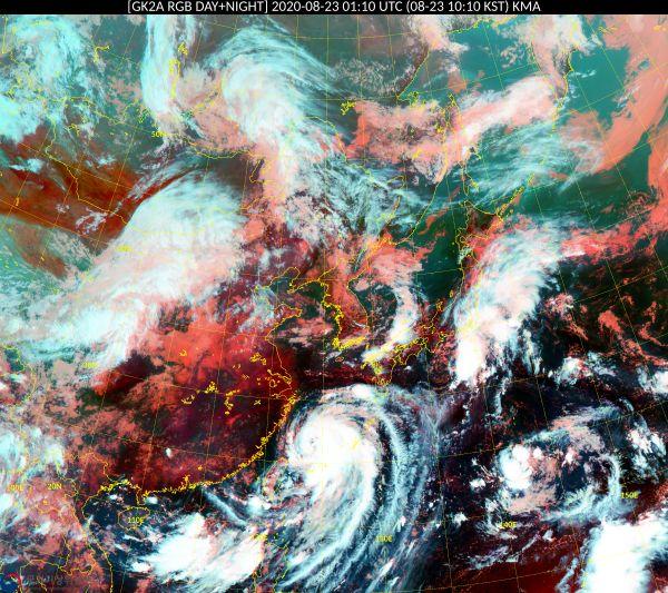 기상청 날씨누리 위성 기본영상에 23일 오전 10시10분 기준 동아시아 RGB 주야간