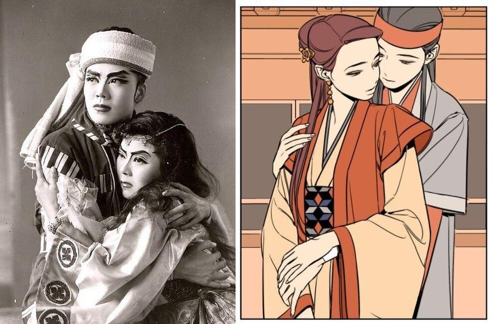 (좌) 1958년 작 배우 김경수(왼쪽)씨와 김진진씨가 출연 '별 하나'(우) 웹툰 '정년이' 국극 장면