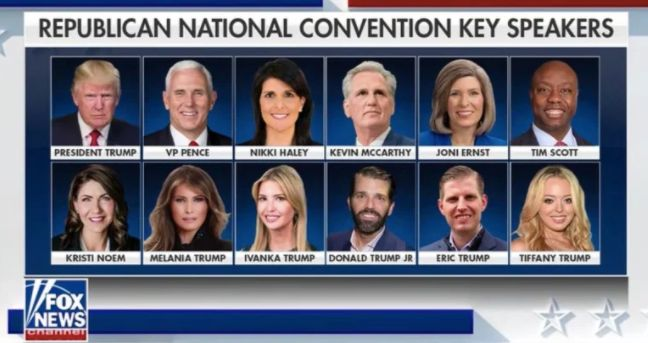The Republican National Convention's tentative key speaker lineup, as shown on Fox News.