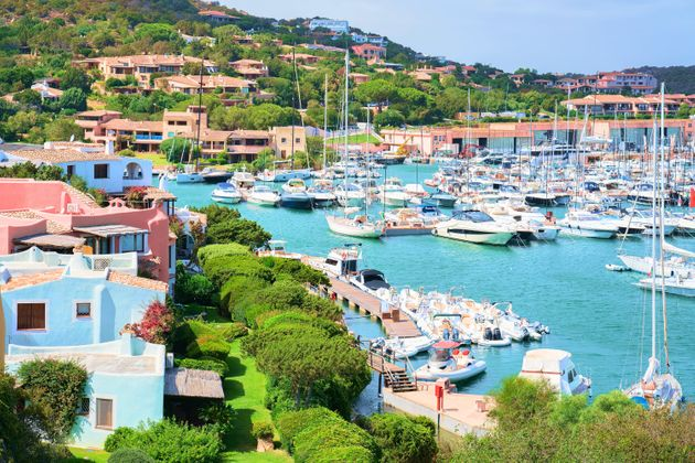 Luxury yachts in harbor in Porto Cervo resort, Costa Smeralda, Sardina in