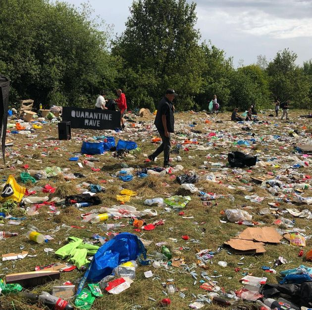 The mess left behind following a rave at Daisy Nook Park in Manchester following an illegal