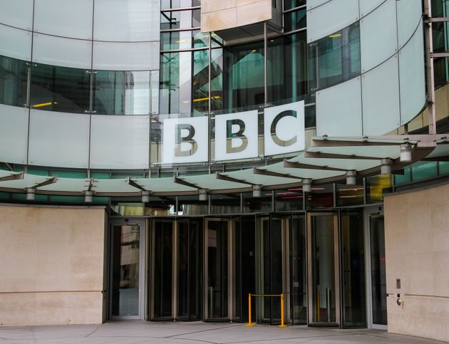 London, UK - 5th April 2014: The outside of a BBC building in central London. The British Broadcasting...