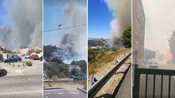 Un vaste incendie mobilise 250 pompiers et bloque une autoroute à