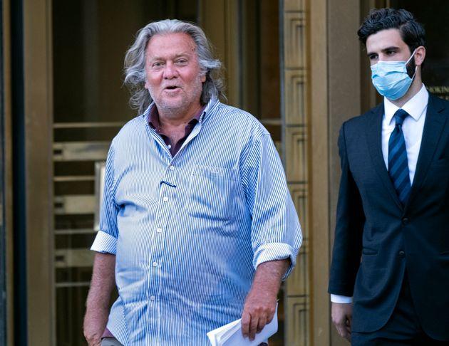 President Donald Trump's former chief strategist Steve Bannon leaves federal court in New York on Thursday...