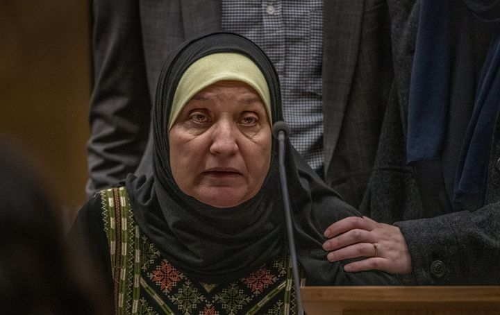 Maysoon Salama, mother of Ata Mohammad Ata Elayyan who was killed in the shooting, gives a victim impact statement about the loss of her son during the sentencing of mosque gunman Brenton Tarrant at the High Court in Christchurch, New Zealand, August 24, 2020. John Kirk-Anderson/Pool via REUTERS