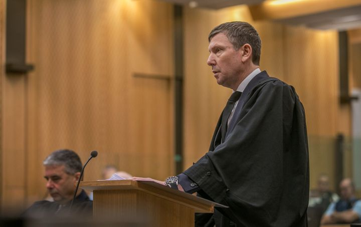 Crown prosecutor Barnaby Hawes reads the summary of facts during the sentencing of Brenton Tarrant, the gunman who shot and killed worshippers in the Christchurch mosque attacks, at the High Court in Christchurch, New Zealand, August 24, 2020. John Kirk-Anderson/Pool via REUTERS