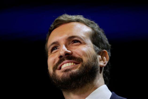 Pablo Casado, durante un mitin en Madrid, en noviembre de