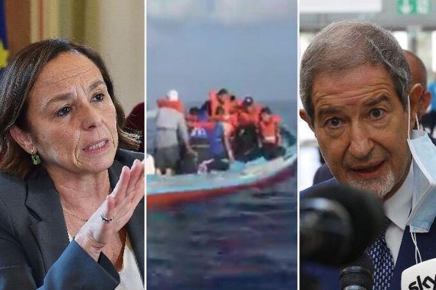 Luciana Lamorgese, un gommone con a bordo dei migranti, Nello