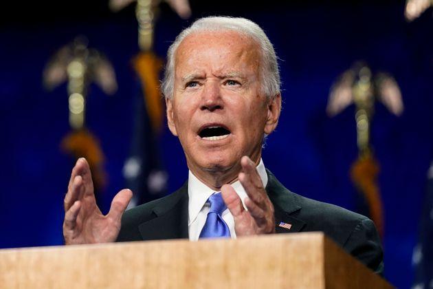 미국 민주당 대선후보 조 바이든이 전당대회 마지막 날 대선후보 수락연설을 하고 있다. 2020년